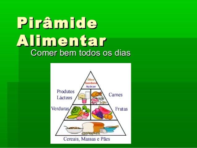 PirâmidePirâmide AlimentarAlimentar Comer bem todos os diasComer bem todos os dias
