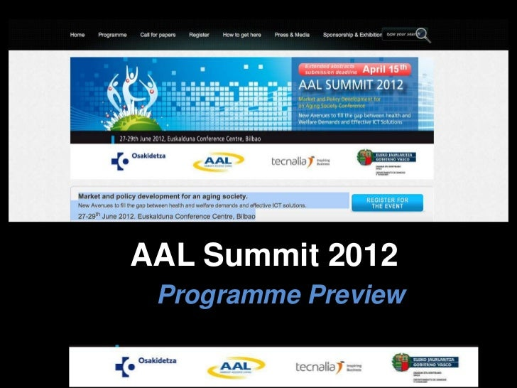 AAL Summit 2012 Programme Preview