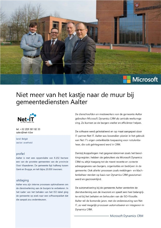 tel. +32 (0)9 361 82 33 sales@net-it.be land: België sector: overheid  profiel  uitdaging  Microsoft Dynamics CRM