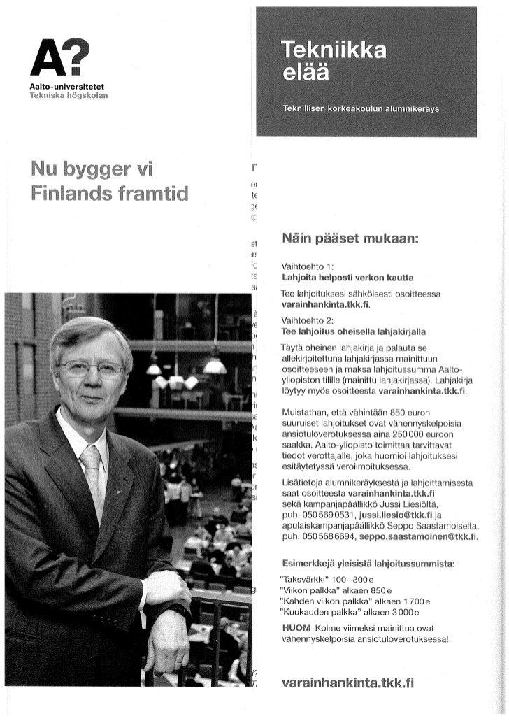 Aalto-yliopiston varainhankintakirje