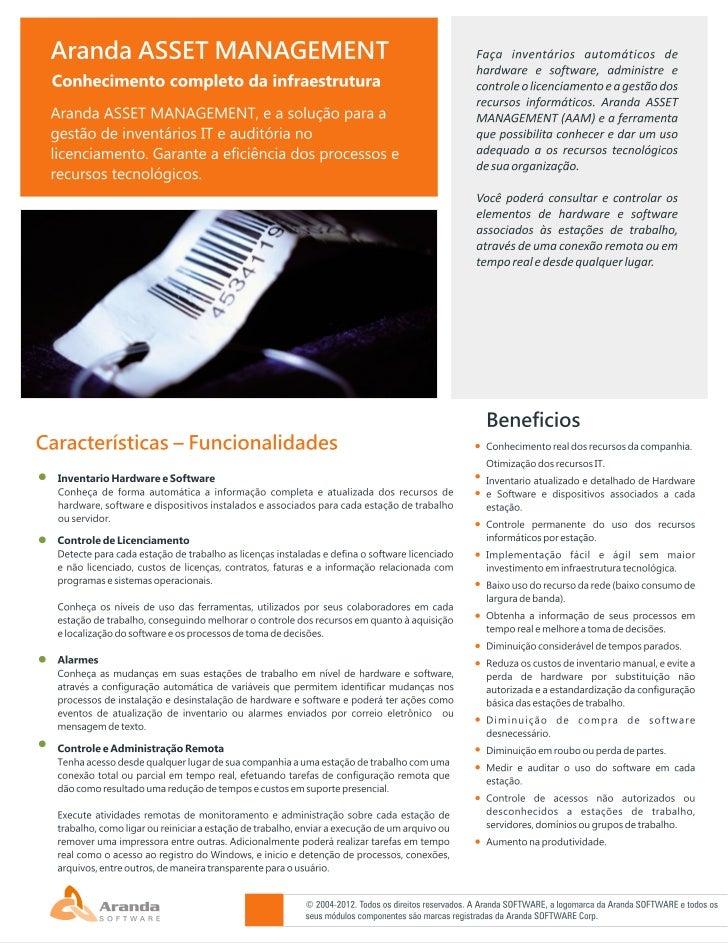 Aranda ASSET MANAGEMENT BR V8 Datasheet
