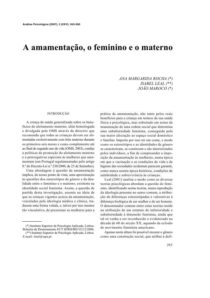 Análise Psicológica (2007), 3 (XXV): 363-380     A amamentação, o feminino e o materno                                    ...
