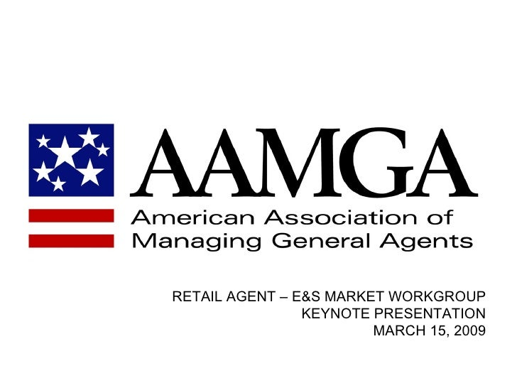 RETAIL AGENT – E&S MARKET WORKGROUP                 KEYNOTE PRESENTATION                         MARCH 15, 2009
