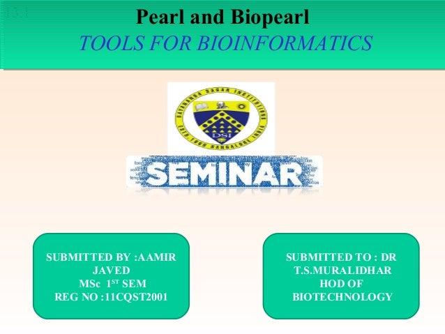 13.1  Pearl and Biopearl Pearl and Biopearl TOOLS FOR BIOINFORMATICS TOOLS FOR BIOINFORMATICS  SUBMITTED BY :AAMIR JAVED M...