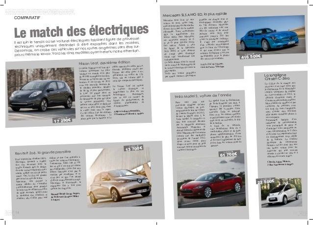 14 COMPARATIF Le match des électriques Il est loin le temps où les voitures électriques faisaient figure de prouesses tech...