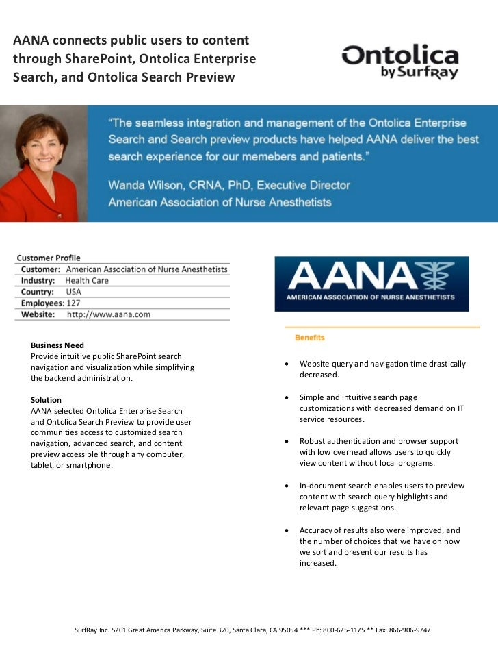 AANA connects public users to content      through SharePoint, Ontolica Enterprise      Search, and Ontolica Search...
