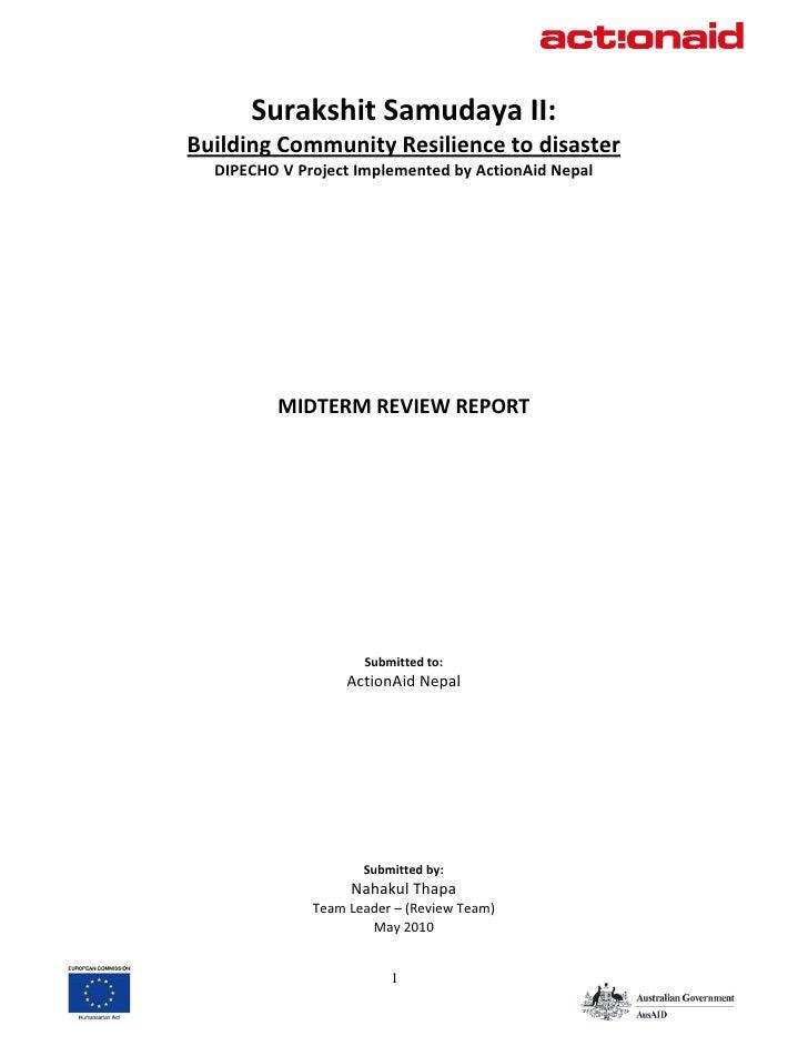 SurakshitSamudayaII:     BuildingCommunityResiliencetodisaster       DIPECHOVProjectImplementedbyActionAidNe...