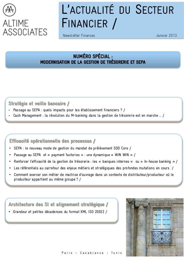 L'ACTUALITÉ DU SECTEUR                                 FINANCIER /                                  Newsletter Finances   ...