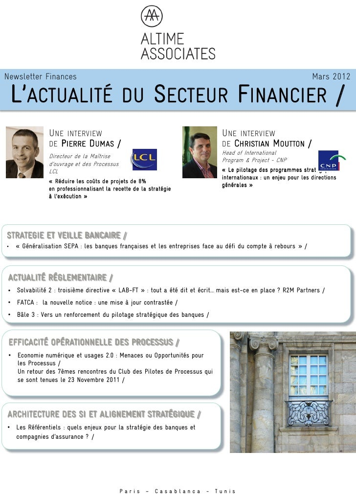 Newsletter Finances                                                                                             Mars 2012 ...