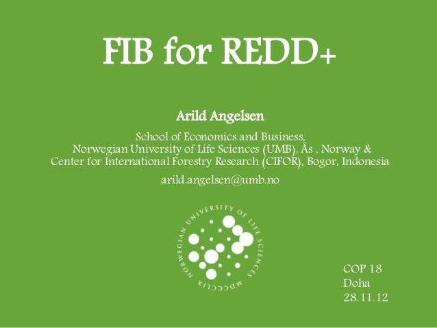 FIB for REDD+                         Arild Angelsen                 School of Economics and Business,    Norwegian Univer...