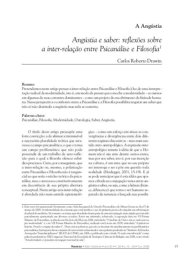 Angústia e saber: reflexões sobre a inter-relação entre Psicanálise e Filosofia 15Reverso • Belo Horizonte • ano 30 • n. 5...