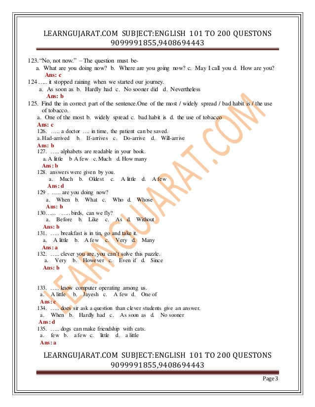 English question with answer 1 00 to 200