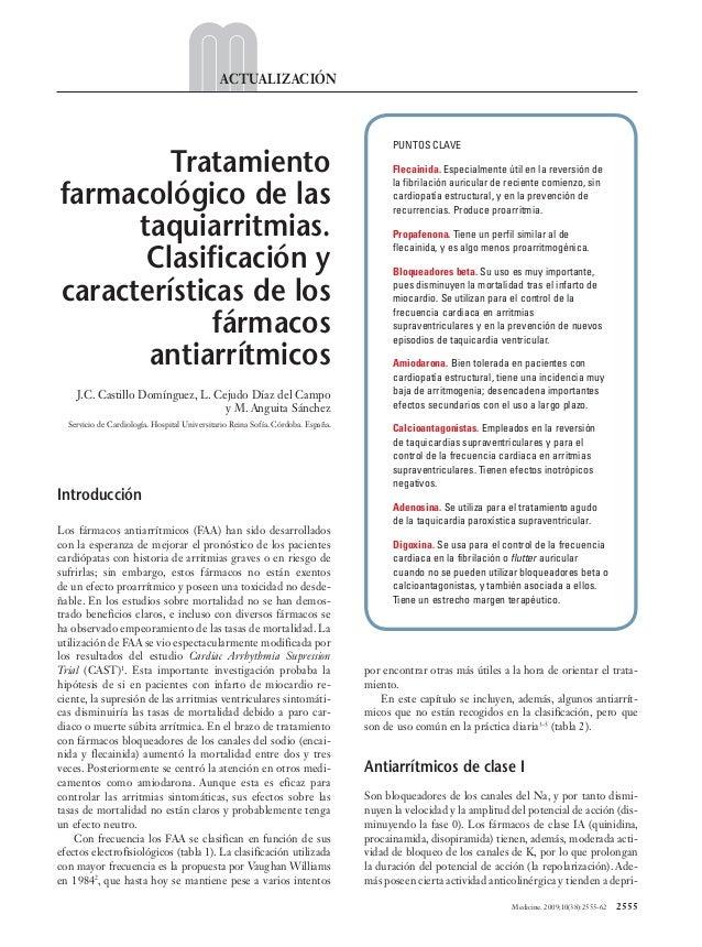 Medicine. 2009;10(38):2555-62  2555 ACTUALIZACIÓN Introducción Los fármacos antiarrítmicos (FAA) han sido desarrollados ...