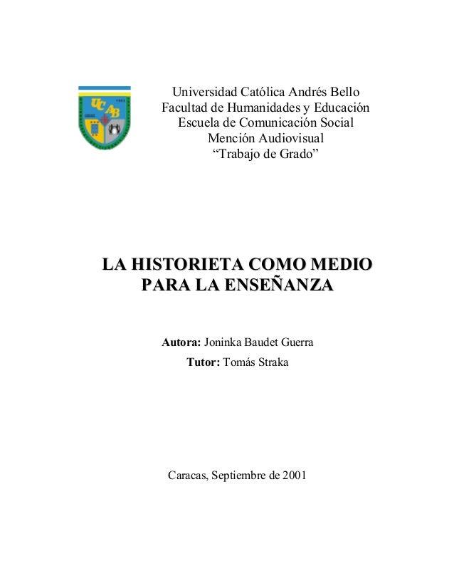 """Universidad Católica Andrés Bello Facultad de Humanidades y Educación Escuela de Comunicación Social Mención Audiovisual """"..."""
