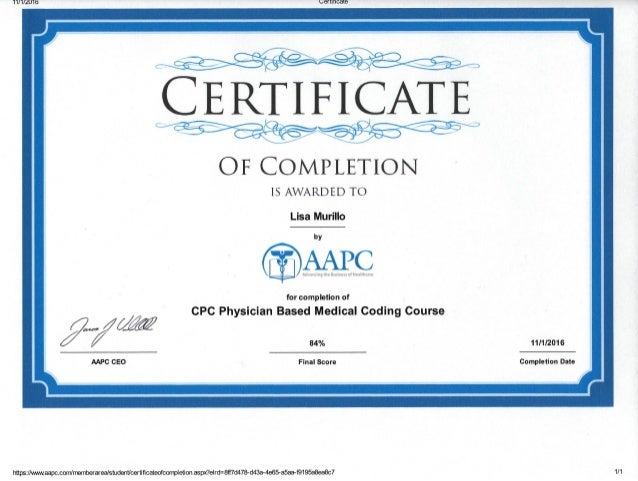 aapc course certificate of completion
