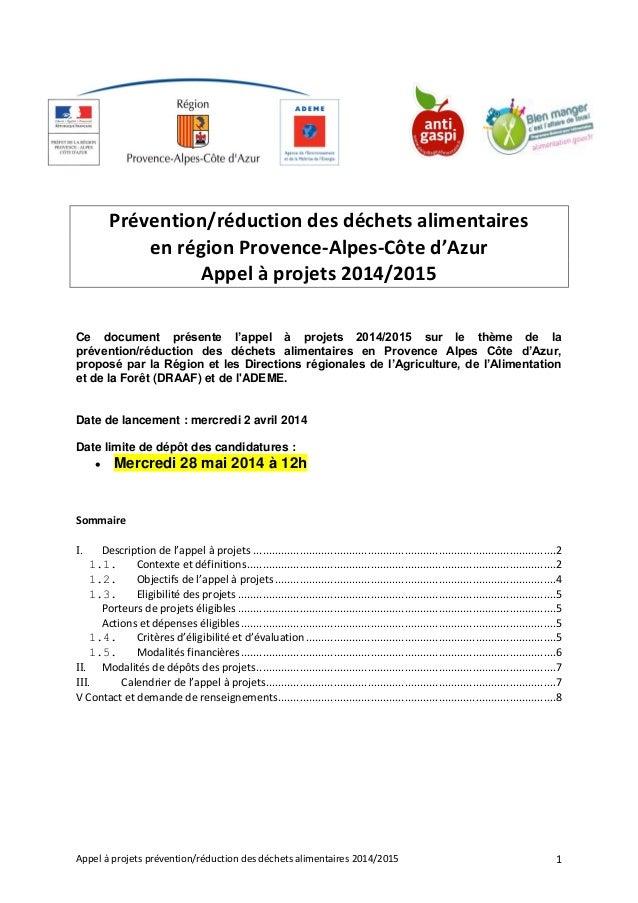Appel à projets prévention/réduction des déchets alimentaires 2014/2015 1 Prévention/réduction des déchets alimentaires en...