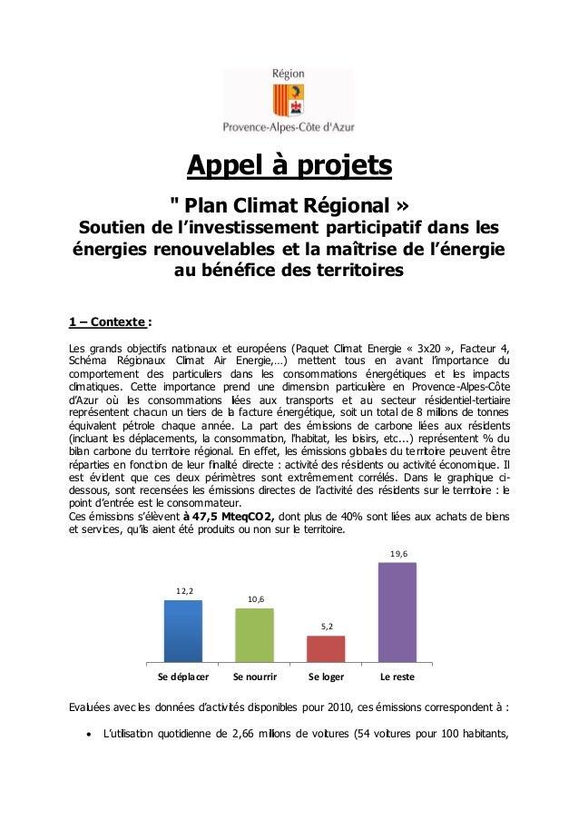 """Appel à projets """" Plan Climat Régional »  Soutien de l'investissement participatif dans les énergies renouvelables et la m..."""
