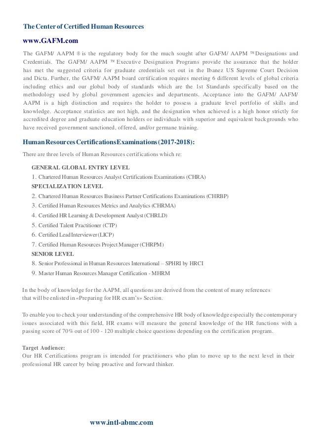 Gafm Global Academy Of Finance Management Hr Certification Progra