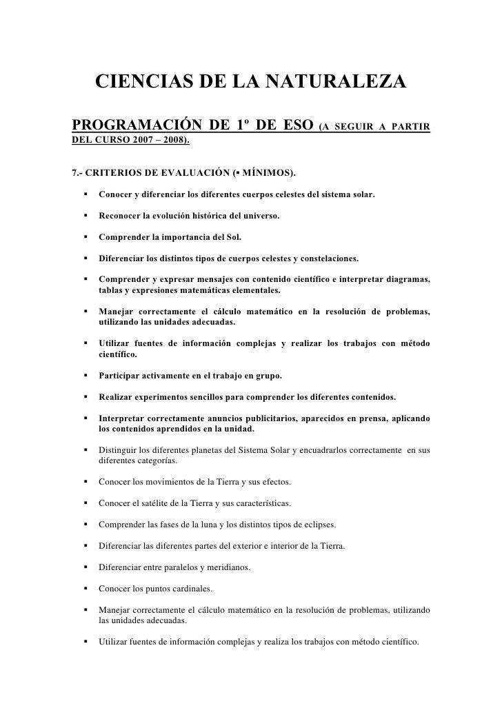 CIENCIAS DE LA NATURALEZA  PROGRAMACIÓN DE 1º DE ESO                                           (A SEGUIR A PARTIR DEL CURS...