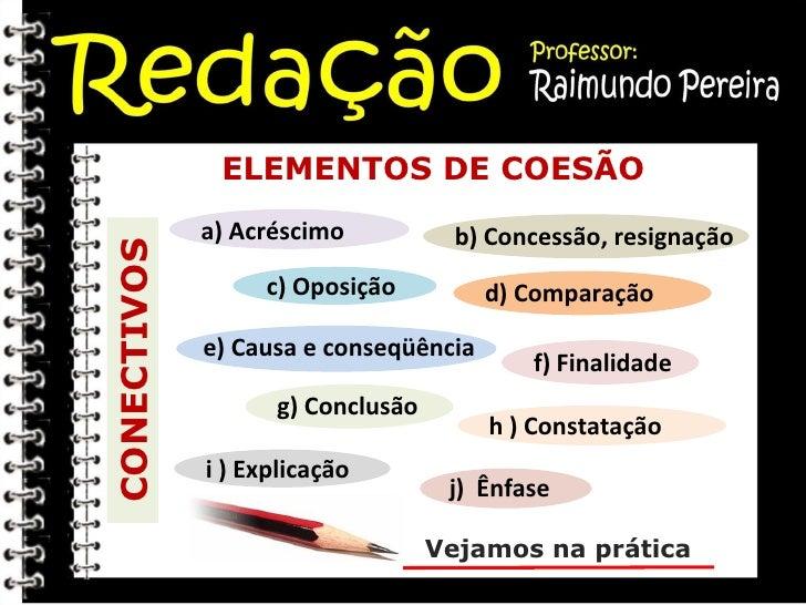 ELEMENTOS DE COESÃO CONECTIVOS Vejamos na prática a) Acréscimo  b) Concessão, resignação c) Oposição  d) Comparação  e) Ca...