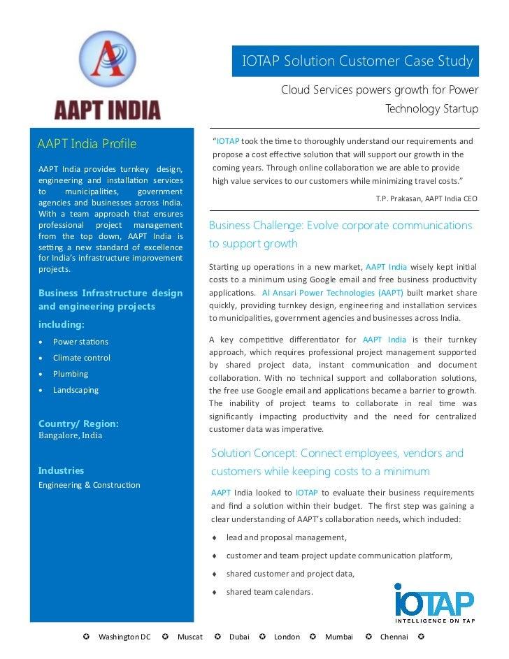 IOTAP Solution Customer Case Study                                                              Cloud Services powers grow...