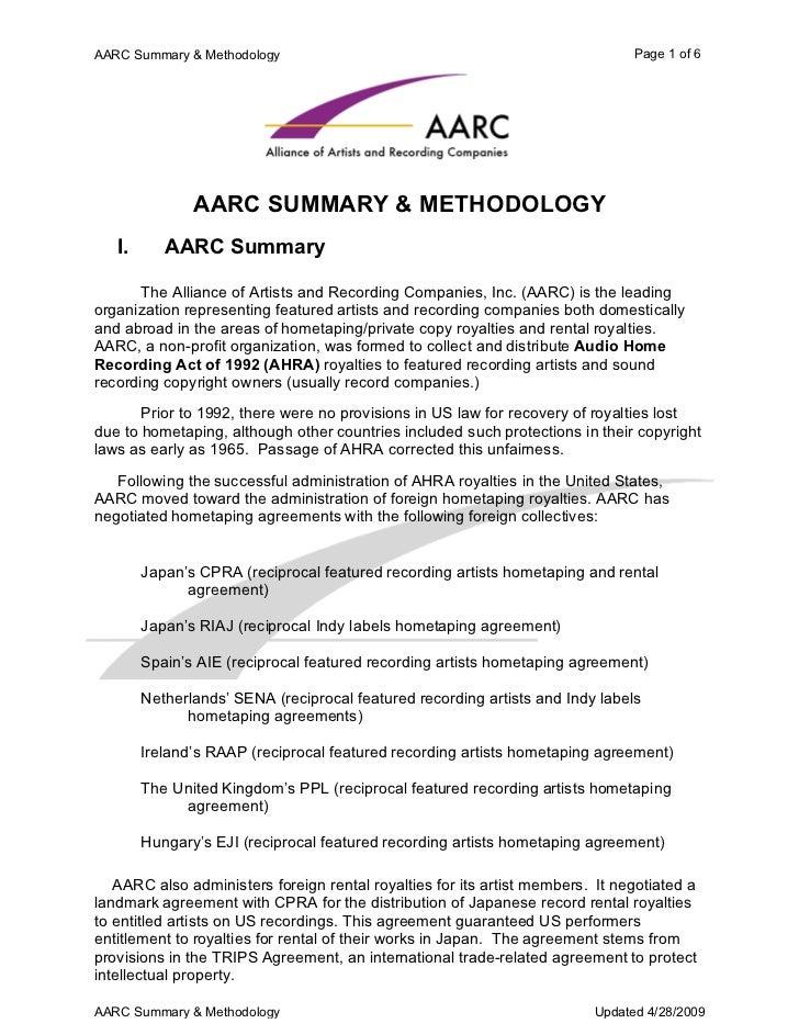 AARC Summary & Methodology                                                     Page 1 of 6               AARC SUMMARY & ME...