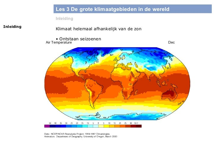 Les 3 De grote klimaatgebieden in de wereld Inleiding Inleiding Klimaat helemaal afhankelijk van de zon <ul><li>Ontstaan s...