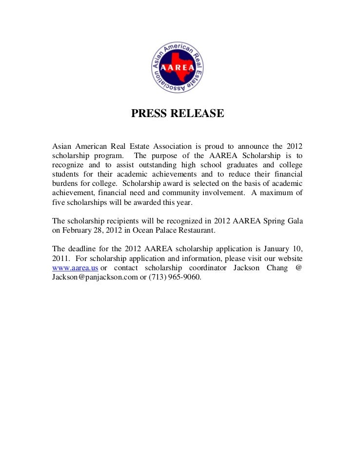 PRESS RELEASEAsian American Real Estate Association is proud to announce the 2012scholarship program. The purpose of the A...