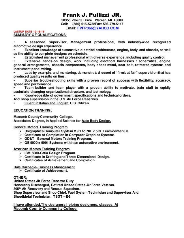 aa resume frank pullizzi new one 10 18 16 - Unigraphics Designer Resume