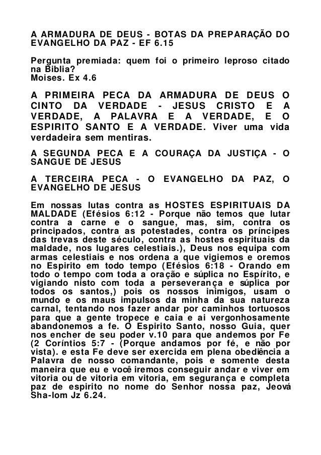 A ARMADURA DE DEUS - BOTAS DA PREPARAÇÃO DO EVANGELHO DA PAZ - EF 6.15 Pergunta premiada: quem foi o primeiro leproso cita...