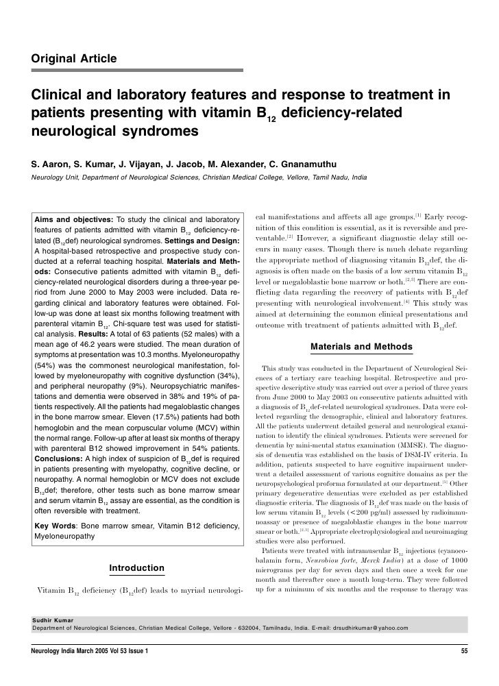 Original ArticleClinical and laboratory features and response to treatment inpatients presenting with vitamin B12 deficien...