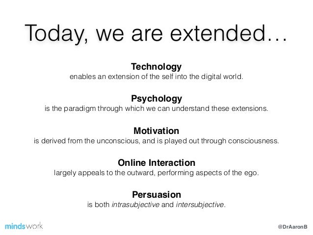 @DrAaronB Today, we are extended… Technology! enables an extension of the self into the digital world. Psychology! is the ...