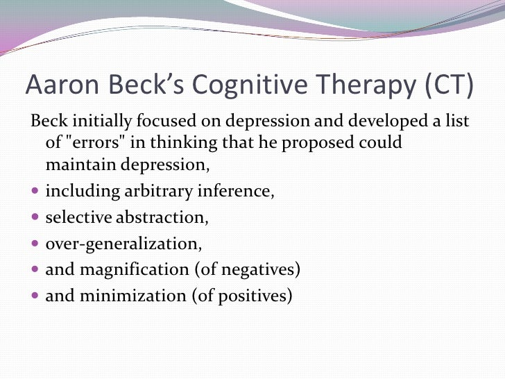 aaron beck the father of cognitive therapy essay Aaron beck, phd, father of cognitive behavioral therapy an essay on how psychologist aaron beck might have treated the depression of abraham lincoln.