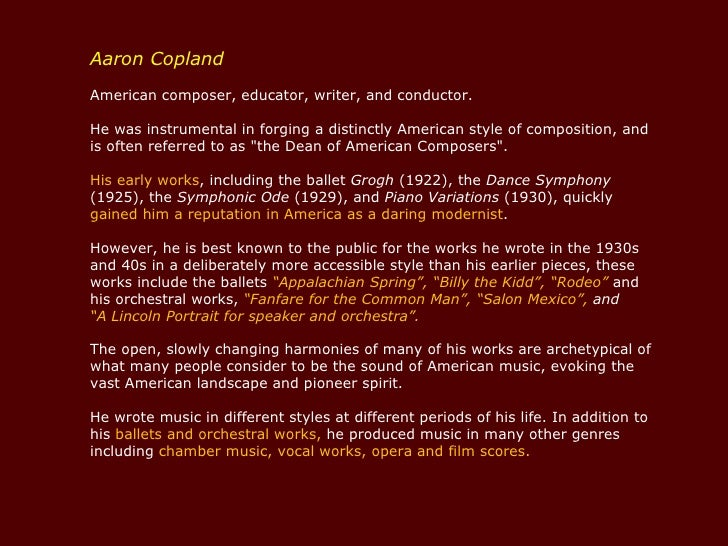 A biography and life work of aaron copland an american composer