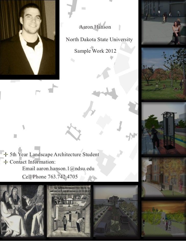 Aaron Hanson                        North Dakota State University                            Sample Work 20125th Year Land...