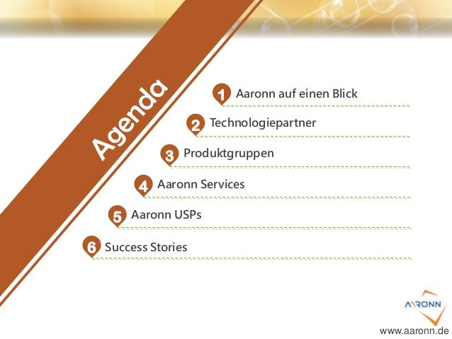 1 2 3 4 5 6 Aaronn auf einen Blick Technologiepartner Produktgruppen Aaronn Services Aaronn USPs Success Stories www.aaron...