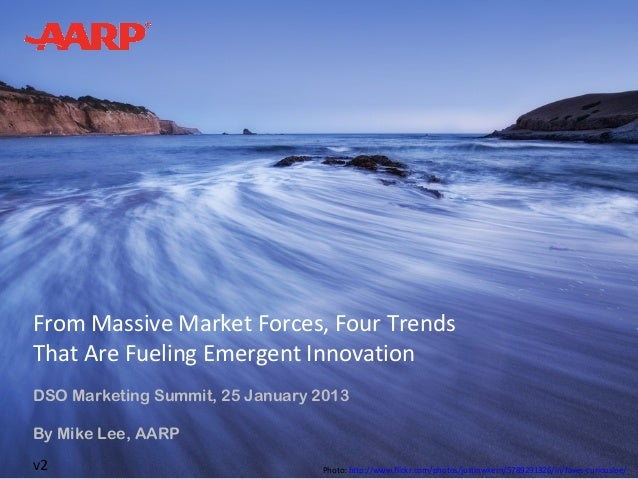 From Massive Market Forces, Four TrendsThat Are Fueling Emergent InnovationDSO Marketing Summit, 25 January 2013By Mike Le...