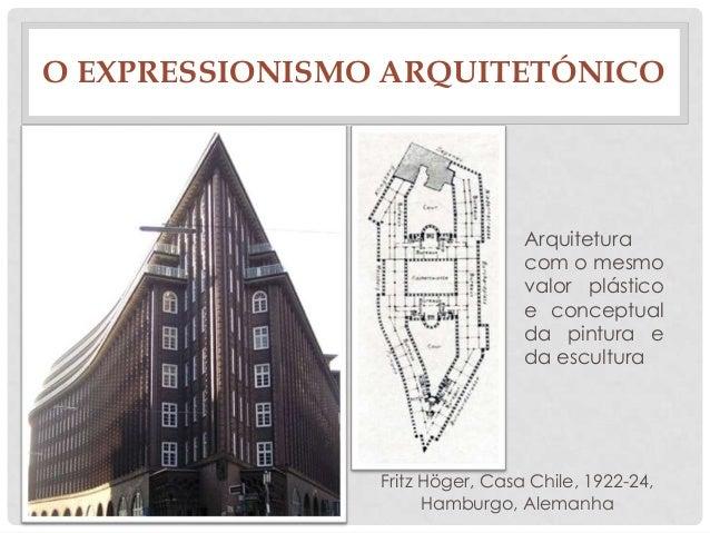 O EXPRESSIONISMO ARQUITETÓNICOFritz Höger, Casa Chile, 1922-24,Hamburgo, AlemanhaArquiteturacom o mesmovalor plásticoe con...