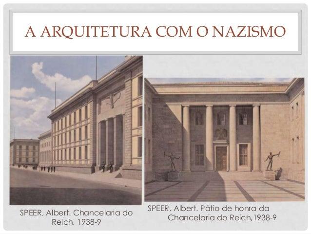 A ARQUITETURA COM O NAZISMOSPEER, Albert. Chancelaria doReich, 1938-9SPEER, Albert. Pátio de honra daChancelaria do Reich,...