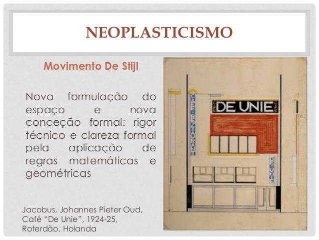 NEOPLASTICISMOMovimento De StijlNova formulação doespaço e novaconceção formal: rigortécnico e clareza formalpela aplicaçã...