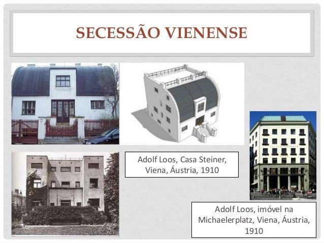 SECESSÃO VIENENSEAdolf Loos, Casa Steiner,Viena, Áustria, 1910Adolf Loos, imóvel naMichaelerplatz, Viena, Áustria,1910