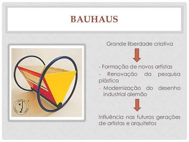 BAUHAUSGrande liberdade criativa- Formação de novos artistas- Renovação da pesquisaplástica- Modernização do desenhoindust...