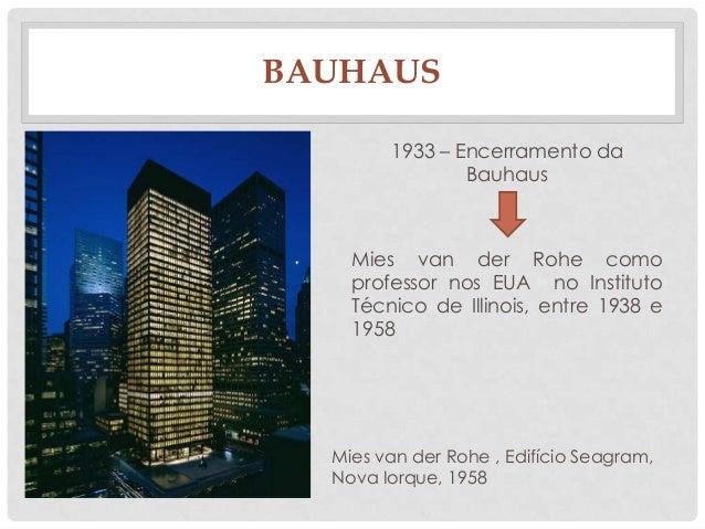 BAUHAUS1933 – Encerramento daBauhausMies van der Rohe comoprofessor nos EUA no InstitutoTécnico de Illinois, entre 1938 e1...