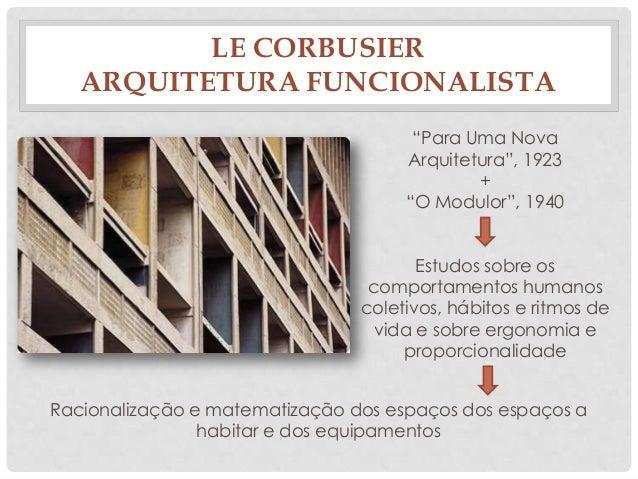 """LE CORBUSIERARQUITETURA FUNCIONALISTA""""Para Uma NovaArquitetura"""", 1923+""""O Modulor"""", 1940Estudos sobre oscomportamentos huma..."""
