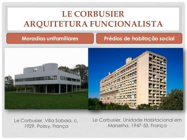 LE CORBUSIERARQUITETURA FUNCIONALISTAMoradias unifamiliares Prédios de habitação socialLe Corbusier, Villa Saboia, c.1929,...