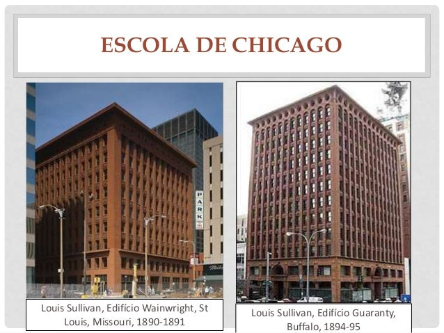 ESCOLA DE CHICAGOLouis Sullivan, Edifício Wainwright, StLouis, Missouri, 1890-1891Louis Sullivan, Edifício Guaranty,Buffal...