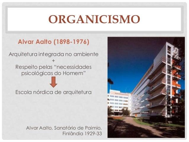 ORGANICISMOAlvar Aalto, Sanatório de Paimio,Finlândia 1929-33Alvar Aalto (1898-1976)Arquitetura integrada no ambiente+Resp...