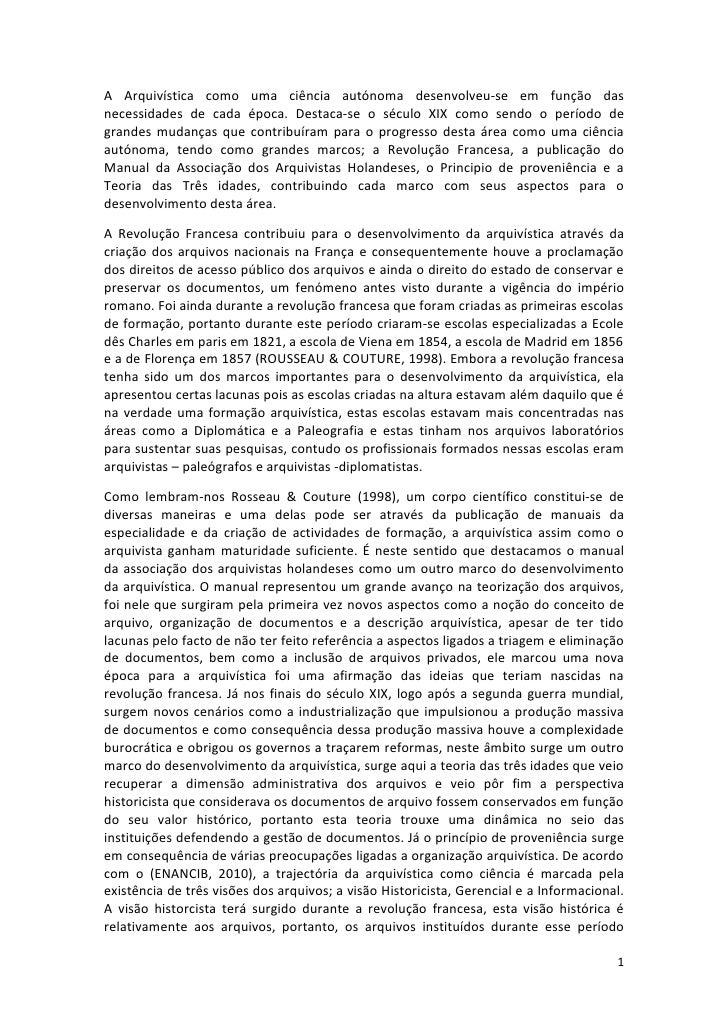 A arquivística como uma ciência autónoma Euclides Cumbe-2011
