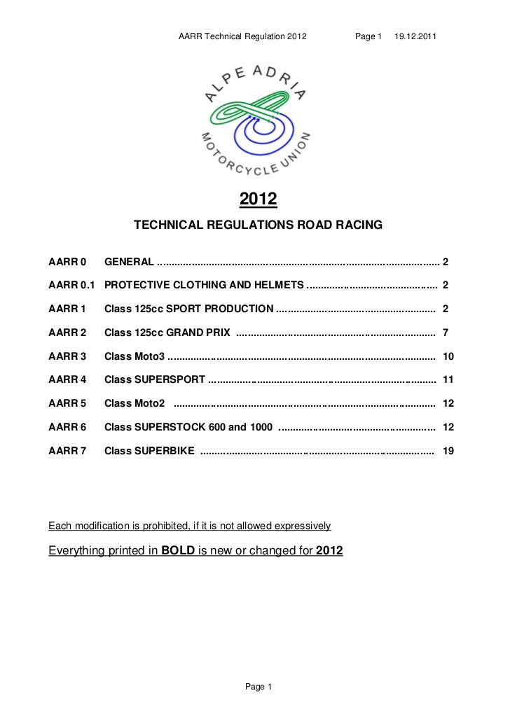 AARR Technical Regulation 2012                          Page 1      19.12.2011                                            ...