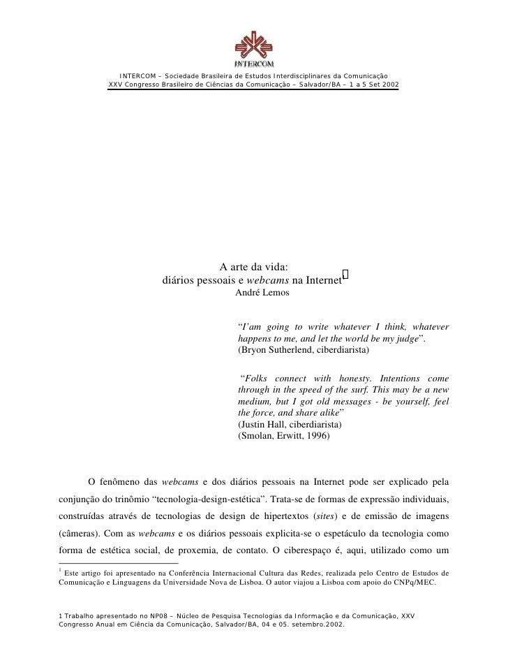 INTERCOM – Sociedade Brasileira de Estudos Interdisciplinares da Comunicação              XXV Congresso Brasileiro de Ciên...